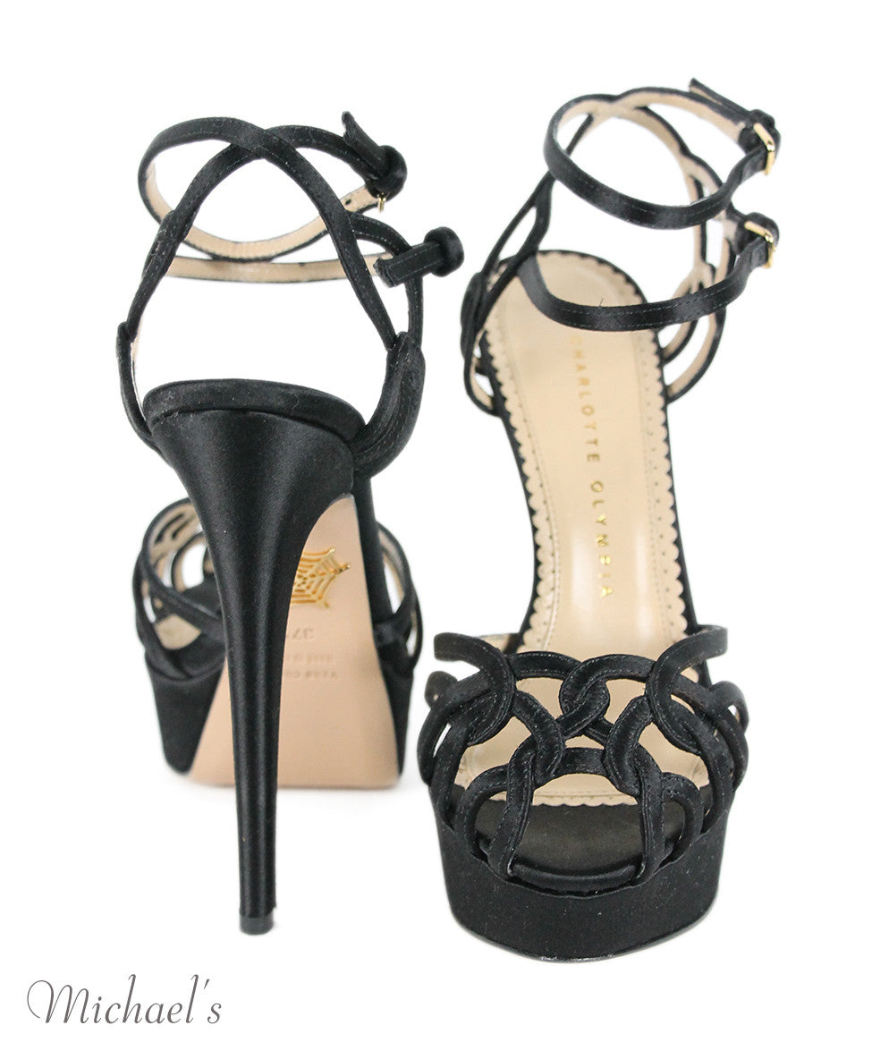 Charlotte Olympia Black Satin Strappy Evening Shoes Sz 37.5 - Michael's Consignment NYC  - 3
