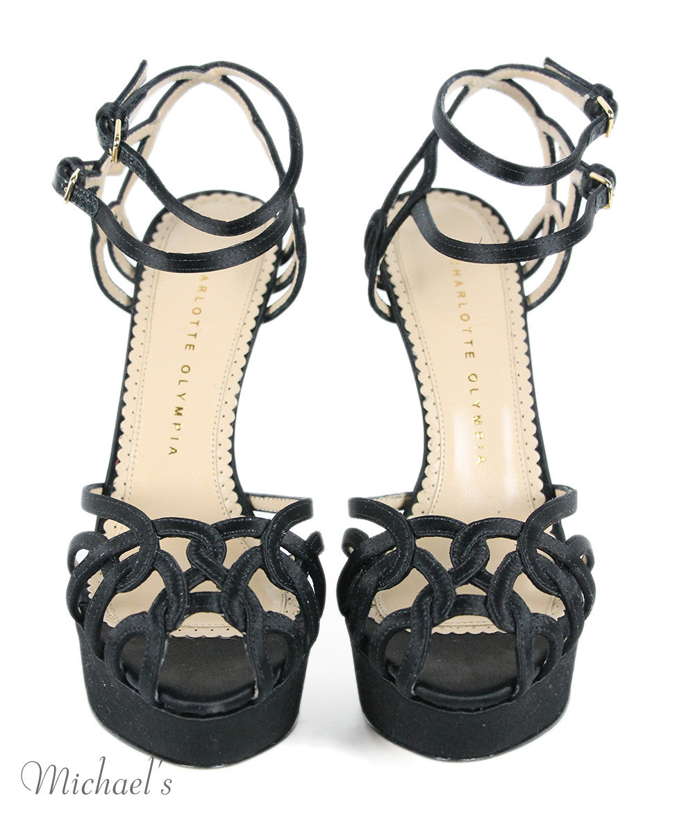 Charlotte Olympia Black Satin Strappy Evening Shoes Sz 37.5 - Michael's Consignment NYC  - 4