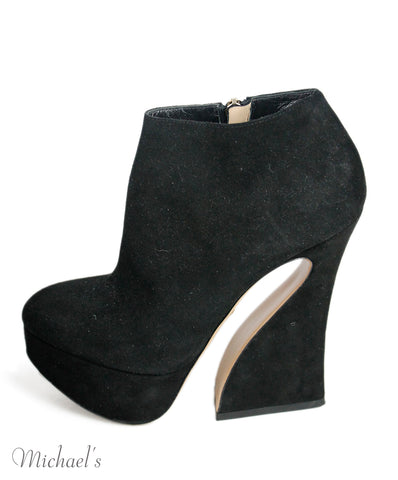 Charlotte Olympia Black Suede Booties Sz 36.5