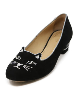 Charlotte Olympia Black Suede With Silver Embroidery Pumps 1