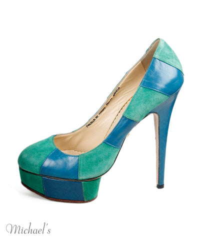 Charlotte Olympia Green Blue Suede Leather Shoes Sz 39