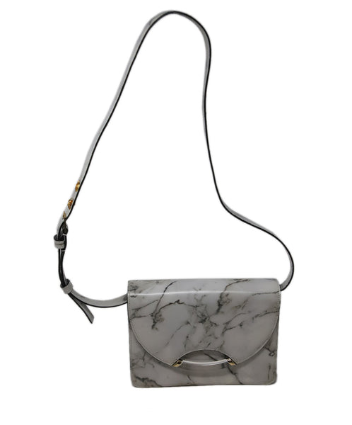Crossbody Gold Hardware Charlotte Olympia White Leather Marble Calfskin Handbag 1