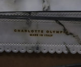 Crossbody Gold Hardware Charlotte Olympia White Leather Marble Calfskin Handbag 7
