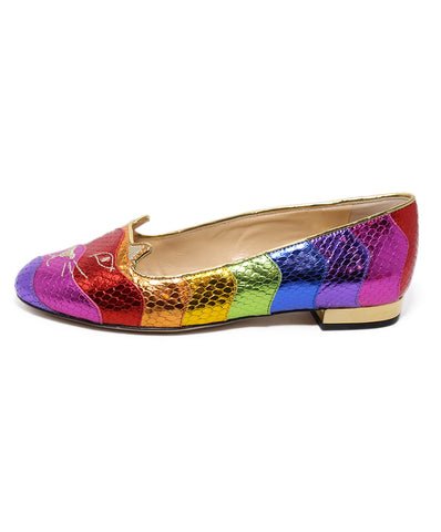 Charlotte Olympia Rainbow Leather Cat Flats 1