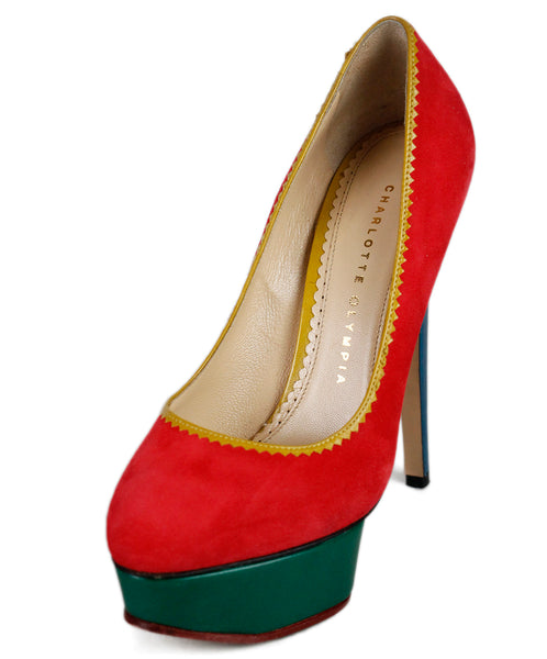 Charlotte Olympia Red Suede Heels Sz 36.5