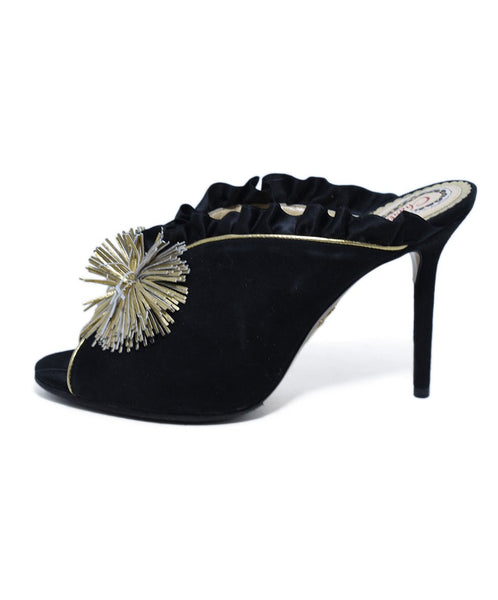 Charlotte Olympia Black Suede Gold Trim Heels, Sz. 40 | Charlotte Olympia