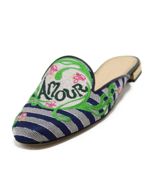Charlotte Olympia blue green print canvas slides 1