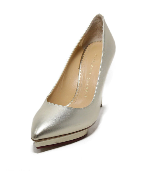 Charlotte Olympia Metallic Gold Leather Heels 1