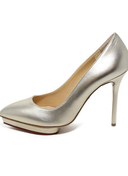 Charlotte Olympia Metallic Gold Leather Heels 2