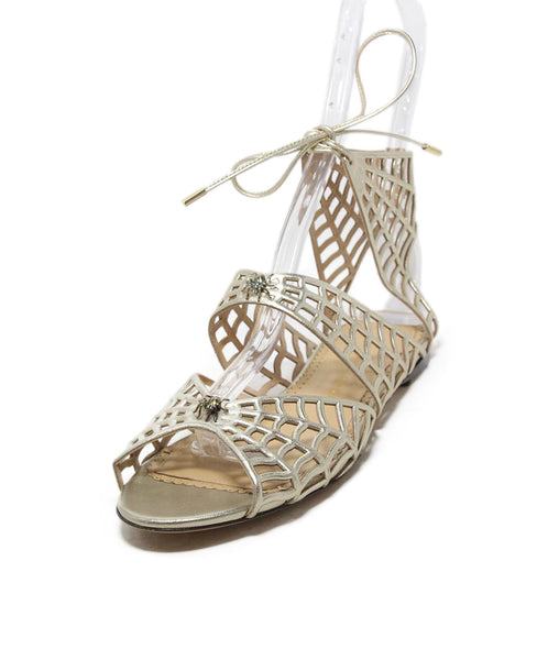 Charlotte Olympia gold leather spider sandals 1