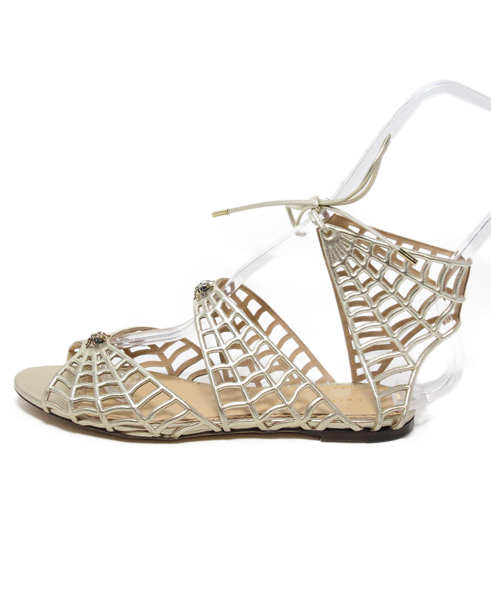 Charlotte Olympia gold leather spider sandals 2