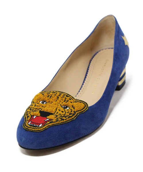 Charlotte Olympia navy velour shoes 1