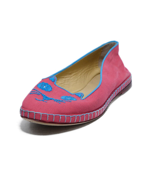 Charlotte Olympia Pink Canvas Flats 1