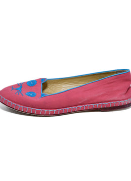 Charlotte Olympia Pink Canvas Flats 2