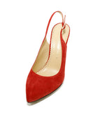 Charlotte Olympia Red Suede Sling Backs Heels 1