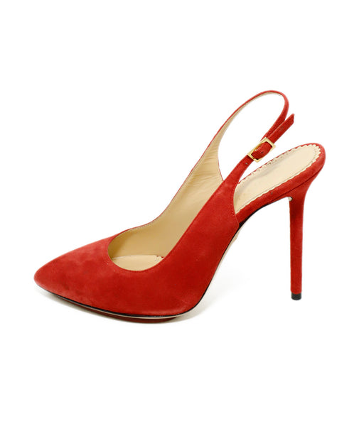 Charlotte Olympia Red Suede Sling Backs Heels 2