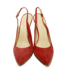 Charlotte Olympia Red Suede Sling Backs Heels 4