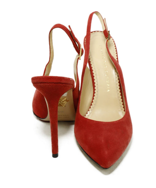 Charlotte Olympia Red Suede Sling Backs Heels 3
