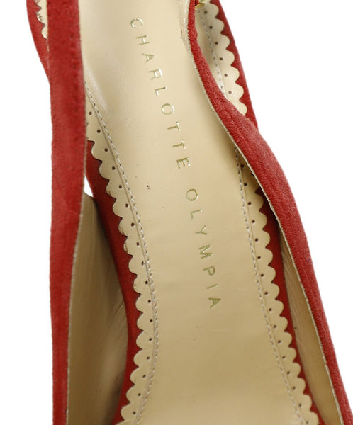 Charlotte Olympia Red Suede Sling Backs Heels 7