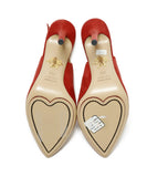Charlotte Olympia Red Suede Sling Backs Heels 5