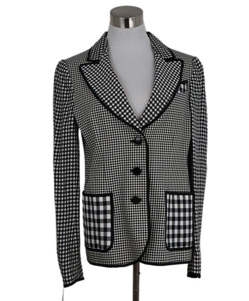 Cheap And Chic Moschino Black and White Plaid Jacket 1