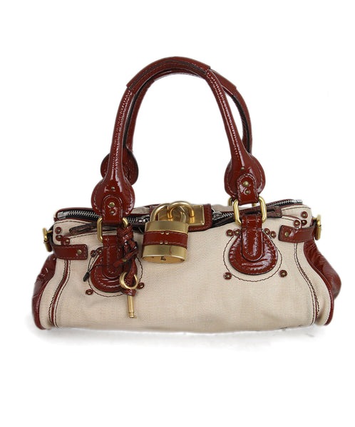 Chloe Beige Canvas Rust Patent Trim Bag 1