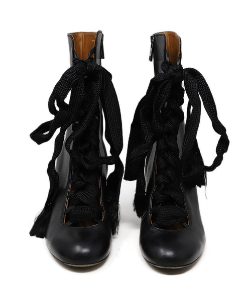 Chloe Black Leather Lace up detail boots 2