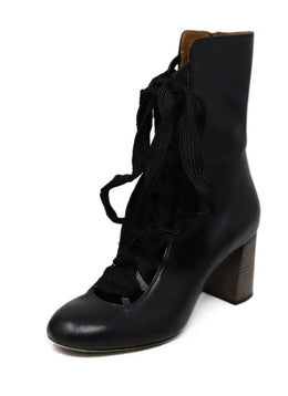Chloe Black Leather Lace up detail boots