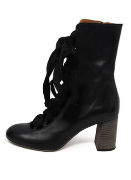 Chloe Black Leather Lace up detail boots 1