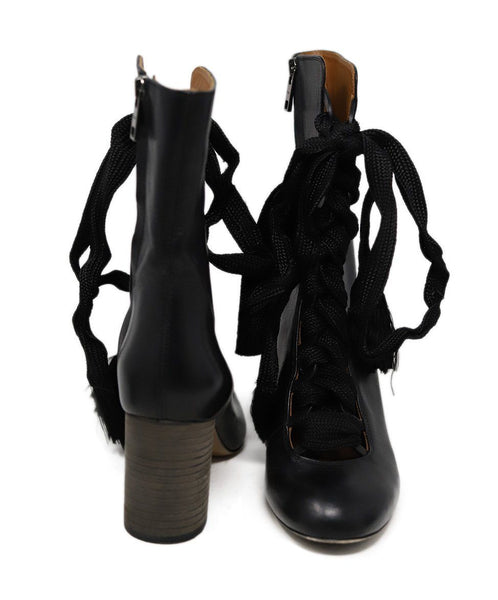 Chloe Black Leather Lace up detail boots 3