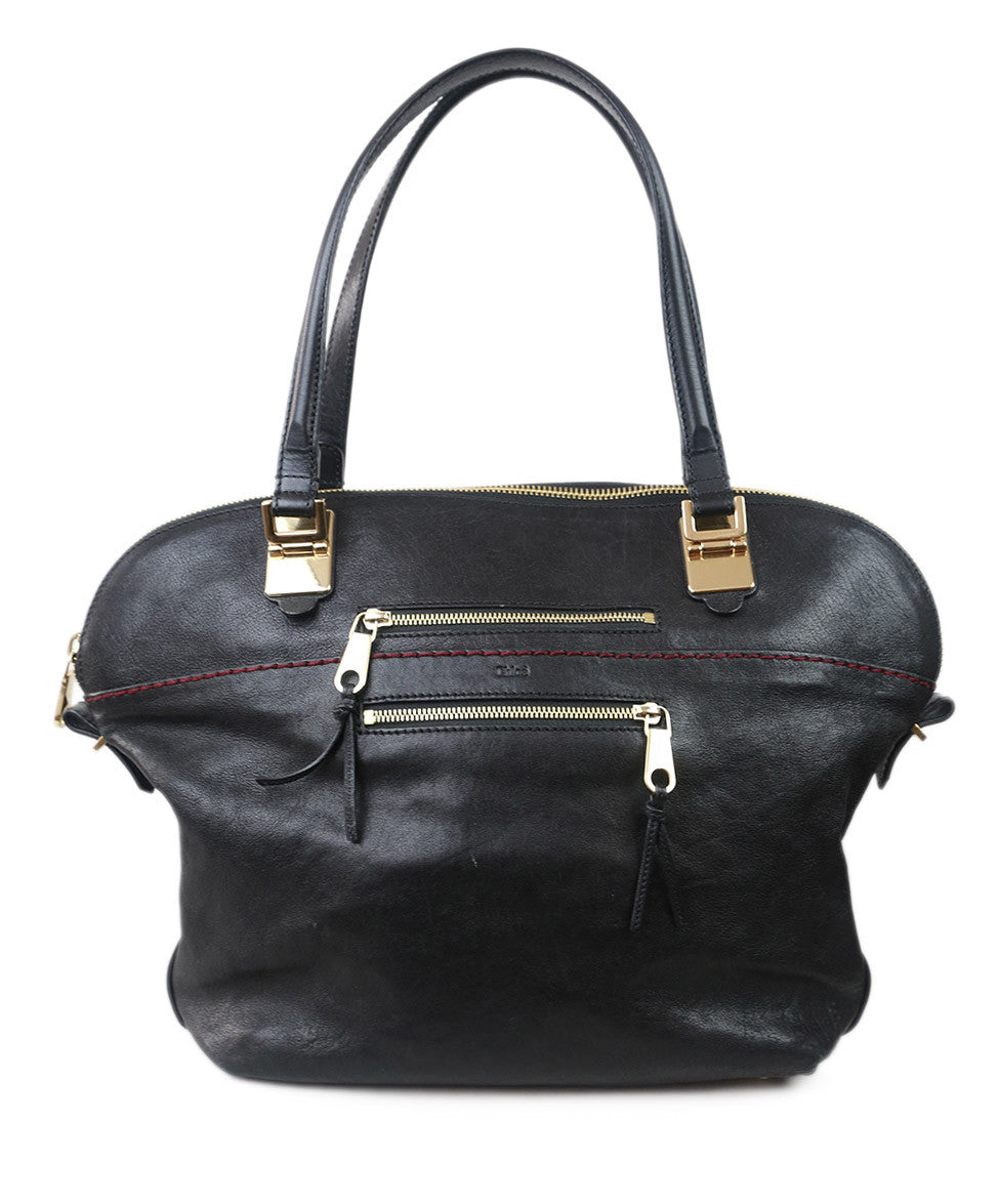 Chloe Black Leather Gold Hardware Handbag