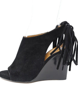 Chloe Black Suede Fringe Wedge Shoes Sz 37