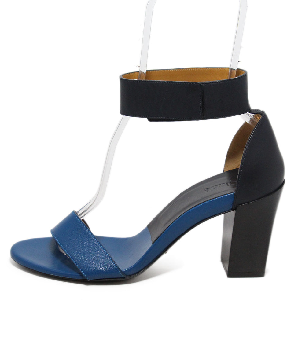 Chloe Blue Black Leather Sandals 2