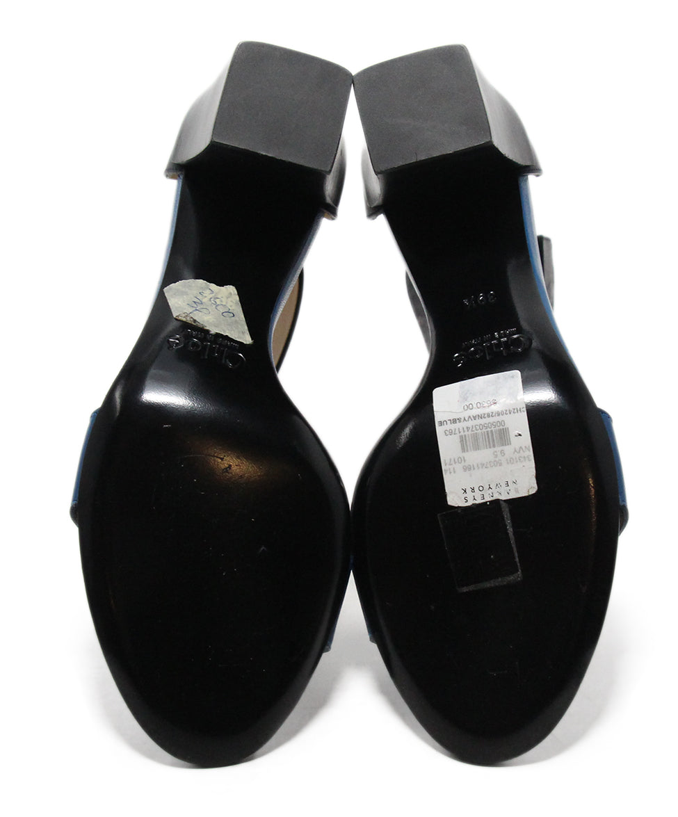 Chloe Blue Black Leather Sandals 5