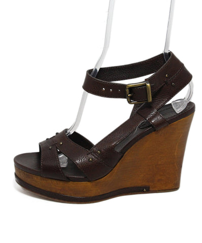 Chloe Brown Leather Wooden Heel Wedges 1