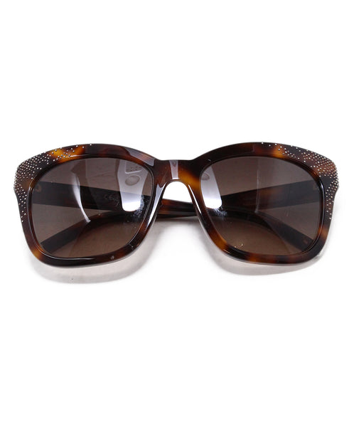 Chloe Brown Plastic Gold Studded Sunglasses 1