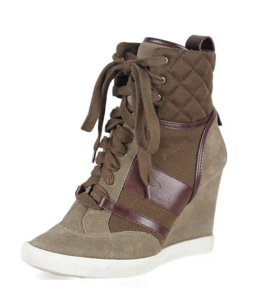 Chloe Brown Tobacco Suede Burgundy Sneaker Wedge Sz 38