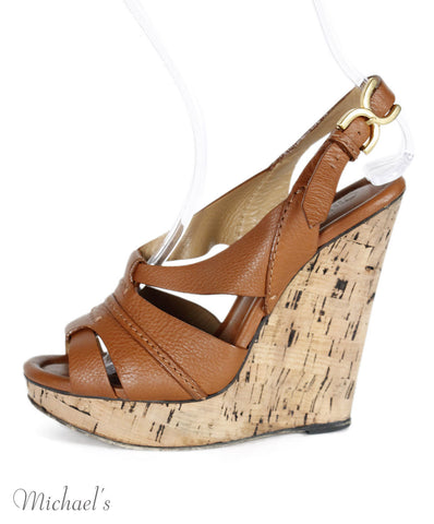 Chloe Brown Caramel Leather Wedges Sz 39.5