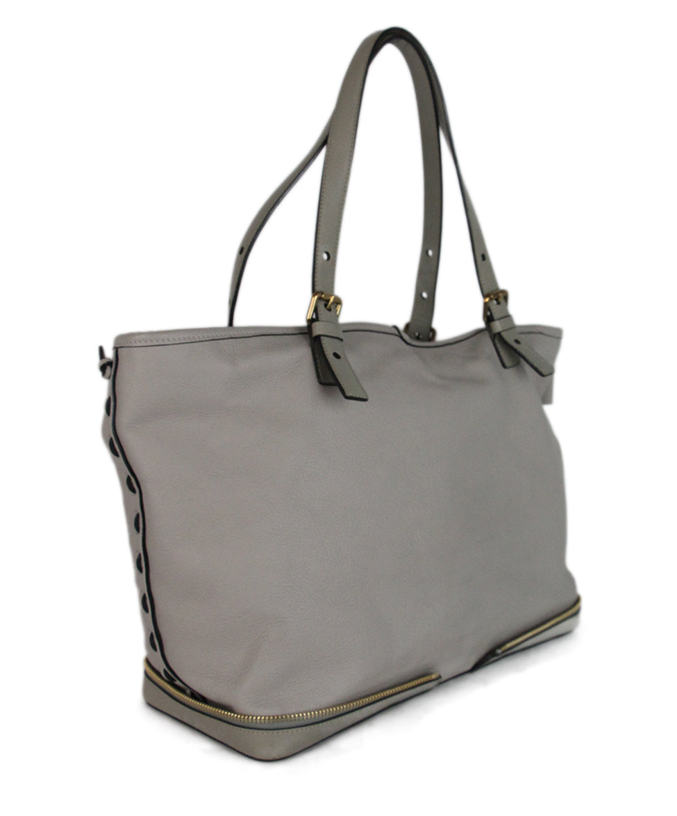 Chloe Ellen Grand Tote neutral canvas Taupe leather bag 2