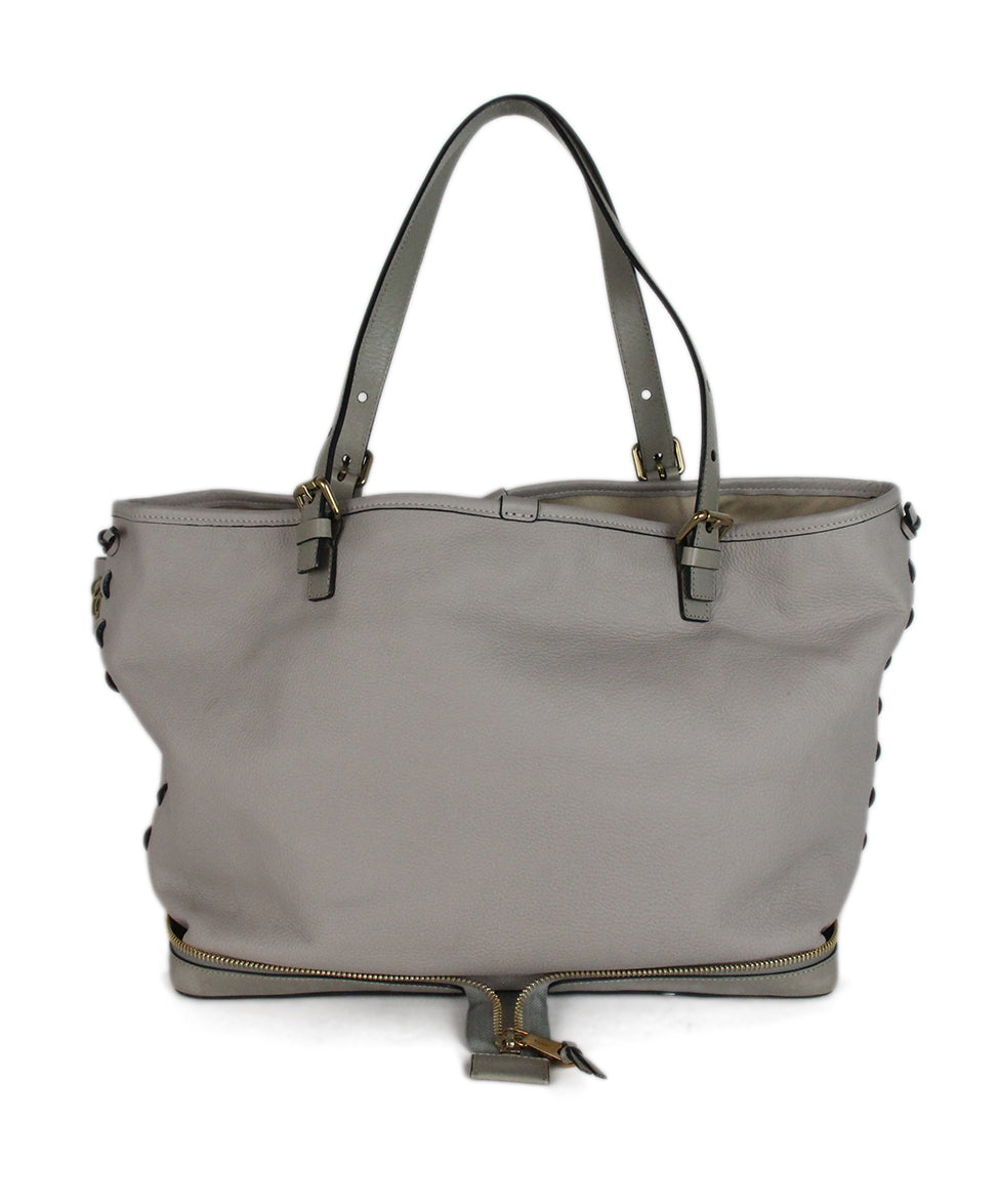 Chloe Ellen Grand Tote neutral canvas Taupe leather bag 3