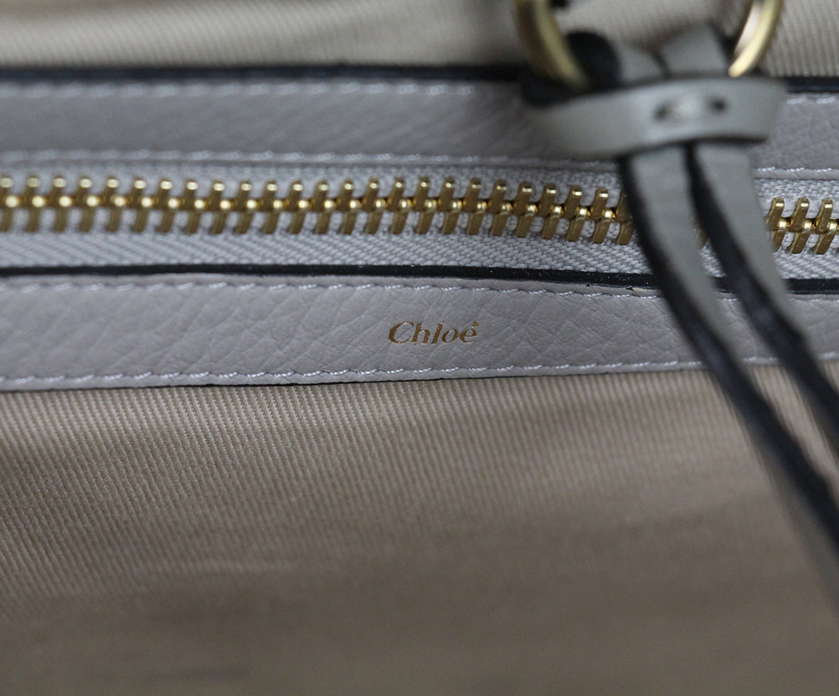 Chloe Ellen Grand Tote neutral canvas Taupe leather bag 7