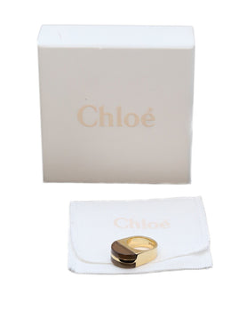 Chloe Metallic Gold Lucite Ring 8