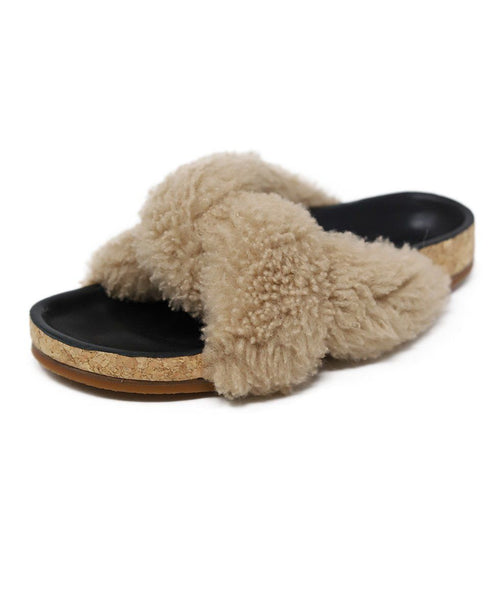 Sandals Shoe Chloe Neutral Beige Sheep Skin Black Leather Lining Shoes 1