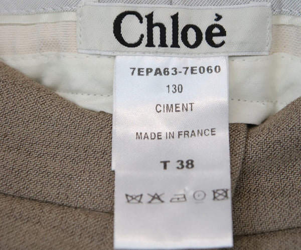 Chloe Neutral Cotton Tailored Pants 3