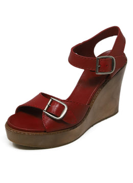"Sandals Chloe Red Leather Wood ""as is"" Shoes 1"