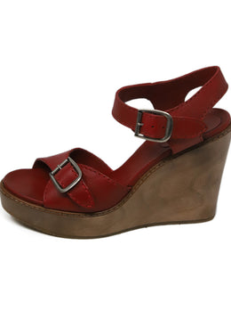 "Sandals Chloe Red Leather Wood ""as is"" Shoes 2"