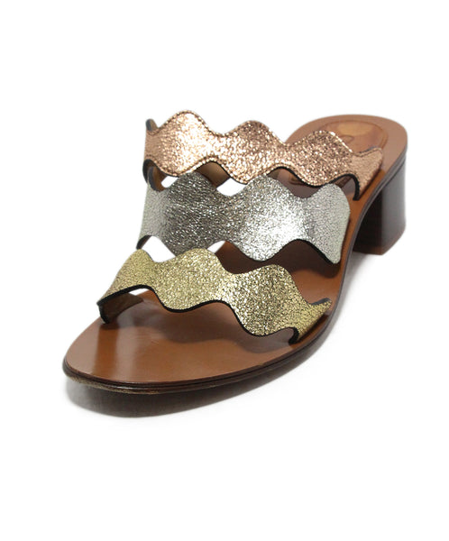 Chloe Rose metallic gold silver leather sandals 1