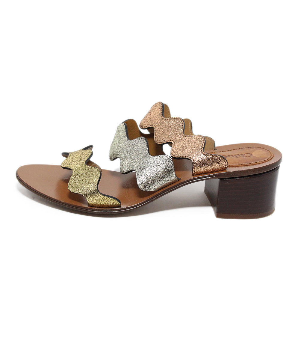 Chloe Rose metallic gold silver leather sandals 2