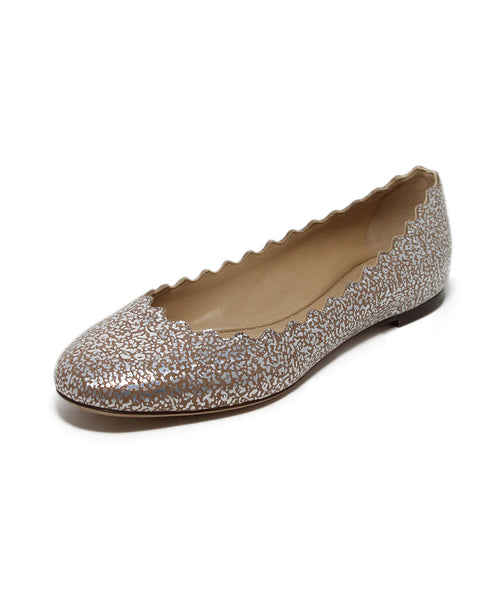 Chloe Silver Nude Metallic Leather Flats 1