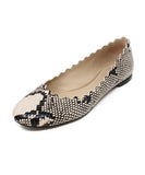 Chloe Black Beige Animal Print Leather Flats 1
